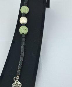 Hjertepllettens lys grønne lava armband