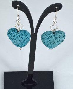 Hjertepallettens lys blå lava hjerte øredobber