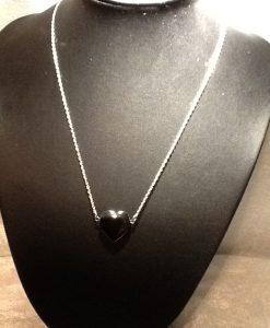 15x15 mm hematite hjerte på sølvkjede
