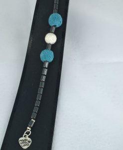 hjertepallettens armband med lys blå lava