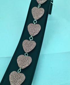 Hjertepallettens armband i sølv og gammelrosa lava