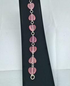 Rosa kattøye hjerter i sølvarmband