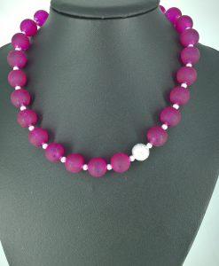14mm frostede rosa glassperler