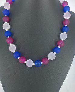 14mm glassperler i blått, hvitt og rosa