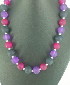 14mm glassperler i rosa, lilla og sort