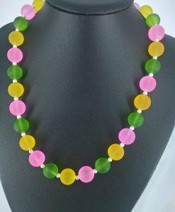 14mm glssperler i lys rosa, gult og grønnt