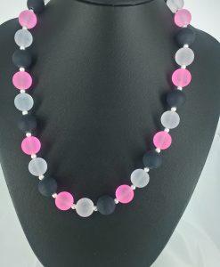 14 mm glassperler i lys  rosa, blankt og sort