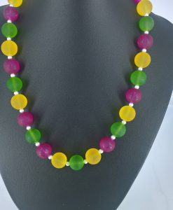 14mm glassperler i rosa, gult og grønnt