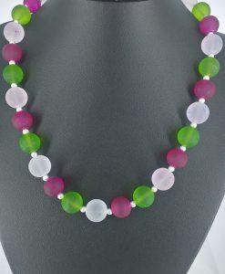 14mm glassperler  i grønt, rosa og blankt