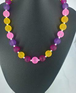 14mm glassperler i gult, rosa, lys rosa og lilla