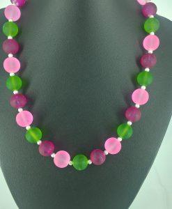 14mm frostede glassperler i rosa, lys rosa og grønnt