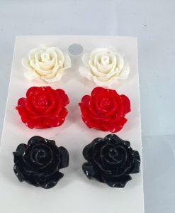 3-pk øredobber i sort, hvitt og rødt
