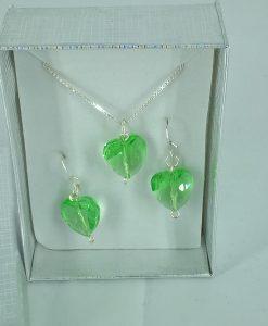 Swarowsky hjerter i smykkesett, grønnt