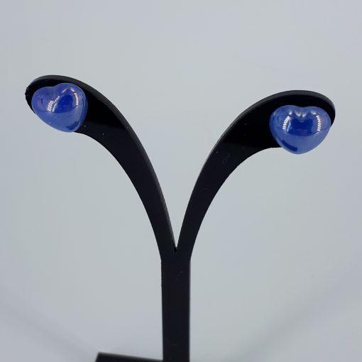 Mørk blå porselenshjerter Ørestikk