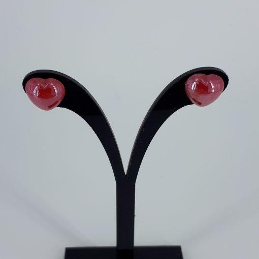 Røde porselenshjerter Ørestikk