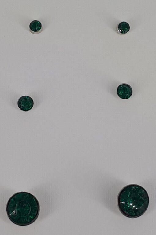 Bling nikkelfri ørepynt 3 par mørk grønne