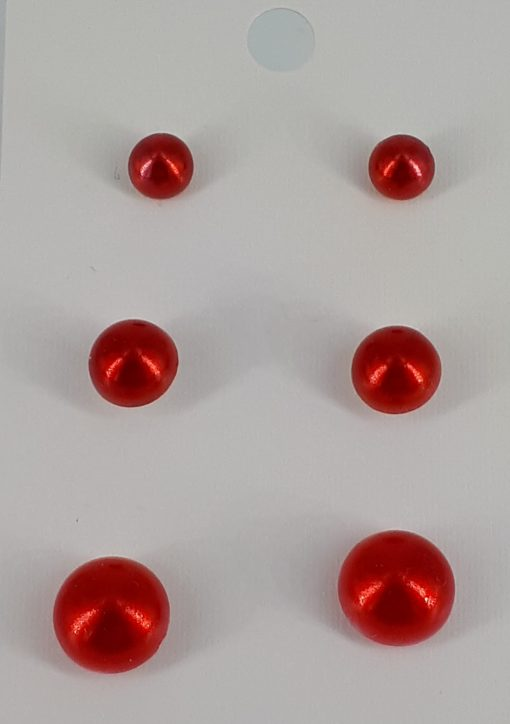 3-pac røde nikkelfrie ørepynt