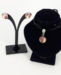 Glass cabochon smykkesett i rosatoner