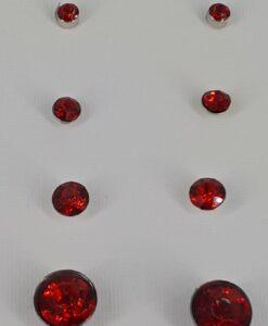 4par rød bling nikkelfri Ørestikk