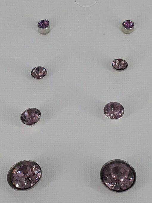 4 par lilla bling ørepynt