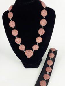 Rosa lava rondeller og 925 sølv