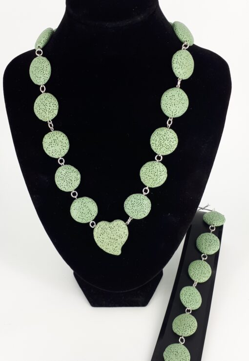 Lys grønn lava rondeller og 925 sølv