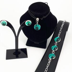 3-delt nikkelfritt smykkesett med sjøgrønne/ patrol glass cabouchon