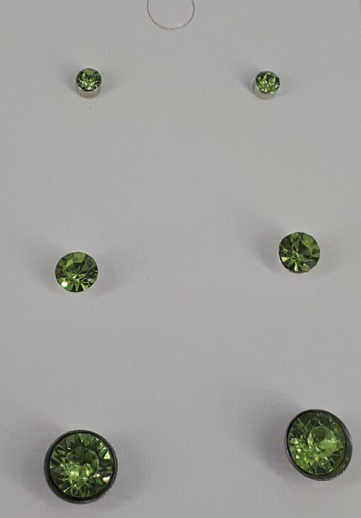 3 par lys grønn nikkelfri bling