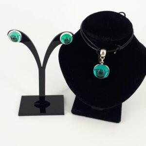 2- delt smykkesett sjøgrønn patrol glass caboushon