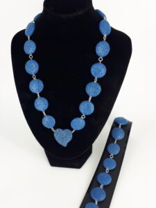 Blå lava rondeller og sølv