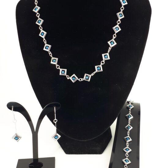 3-delt stort smykkesett square, blå