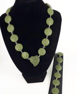 Mosegrønne lava rondeller og 925 sølv