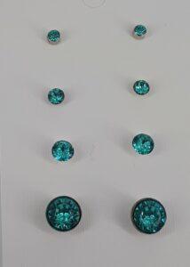 Turkis sjøgrønn bling, 4 par, nikkelfri ørepynt